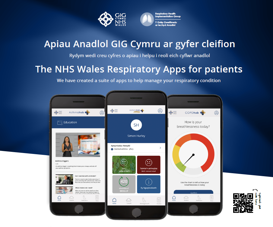The NHS Wales Respiratory Apps for patients.  We have created a suite of apps to help manage your respiratory condition